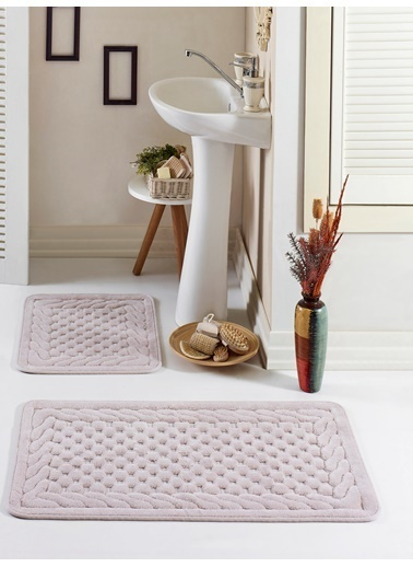 Eponj Home Banyo Paspas Seti Düz Pamuklu Hasır Vizon Vizon